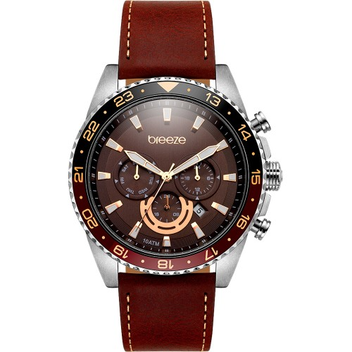 BREEZE Steel Master Multifunction Brown Leather Strap 111032.6