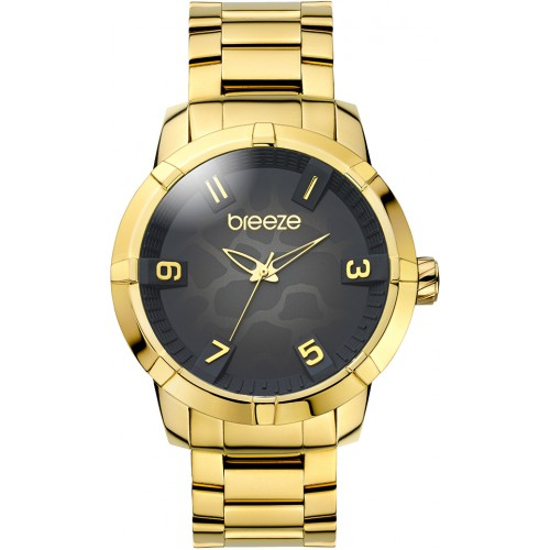 BREEZE Γυναικείο Ρολόι Safari Chic Gold Stainless Steel Bracelet