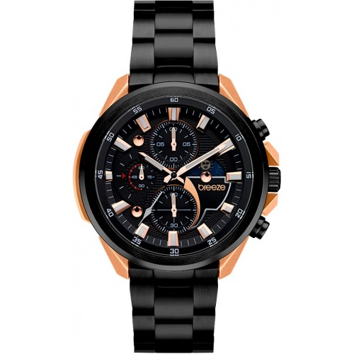 BREEZE Omnius Two-Tone Chronograph Black-rose gold Stainless Steel Bracelet 712112.5