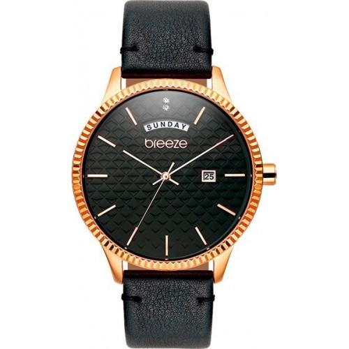 BREEZE Γυναικείο Ρολόι Jackie Wow Rose Gold Black Leather Strap 111021.6