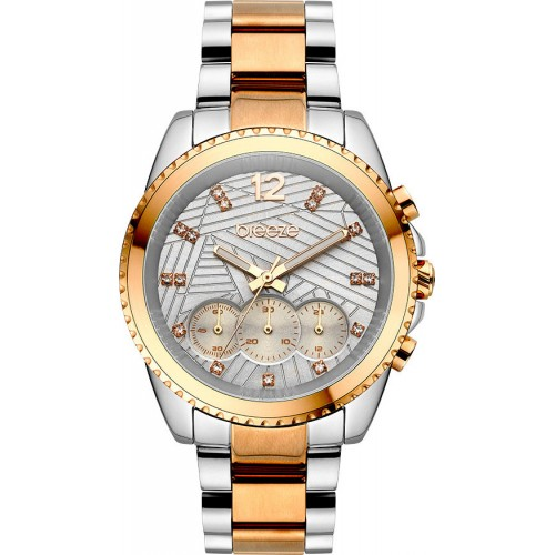 BREEZE Majestyle Crystals Two Tone Stainless Steel Chronograph 710991.4