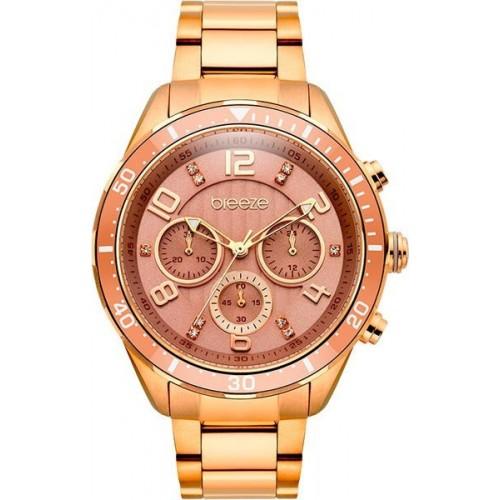 BREEZE Γυναικείο Ρολόι Serenia Crystals Rose Gold Stainless Steel Chronograph 210951.4