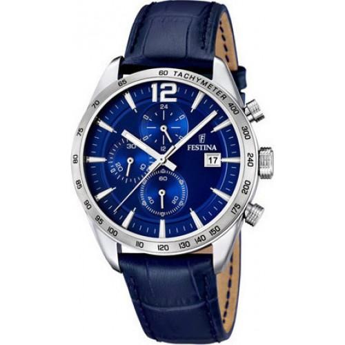 FESTINA Chronograph Blue Leather Strap F16760/3