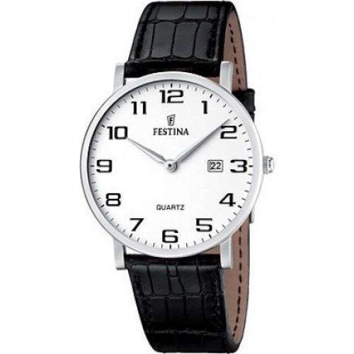 FESTINA Classic mens black leather strap F16476/1
