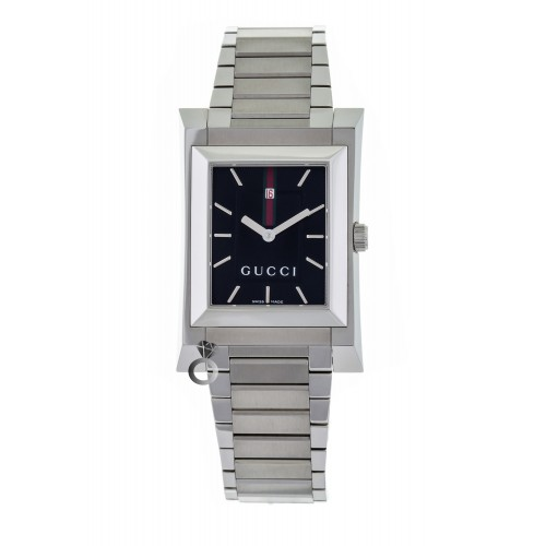 Gucci Guccio Black Dial Stainless Steel Bracelet YA111303