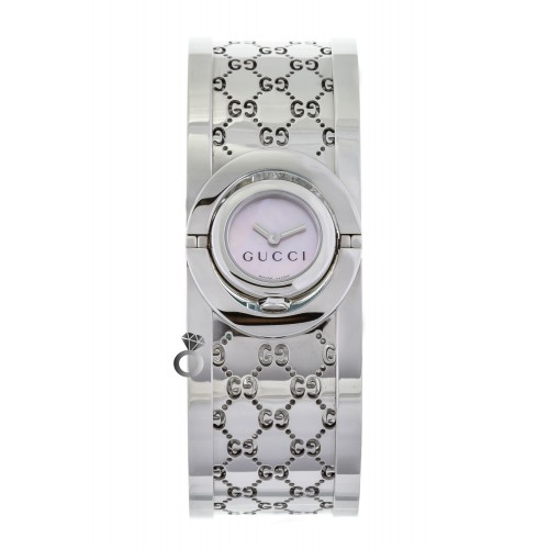 Gucci Twirl Pink Mother of Pearl Dial Ladies Watch YA112513
