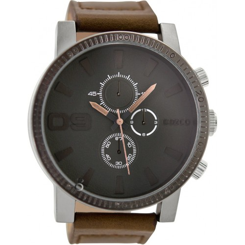 OOZOO 50mm Unisex Brown Leather Strap C9032