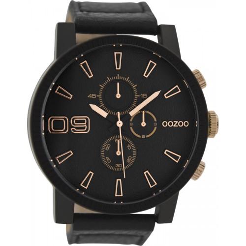OOZOO 50mm Unisex Black Leather Strap C9034