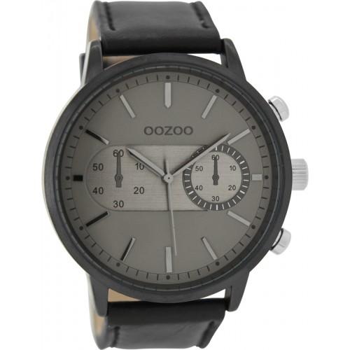 OOZOO 48mm Unisex Black Leather Strap C9058
