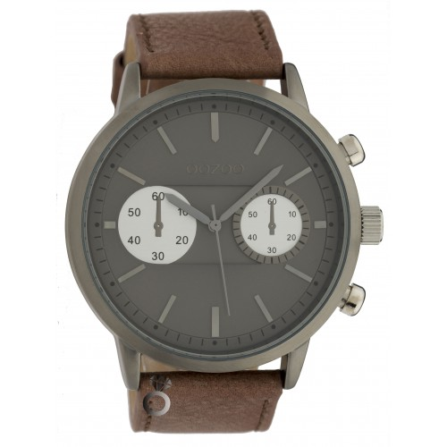 OOZOO TIMEPIECES 48mm Unisex Brown Leather Strap C9272