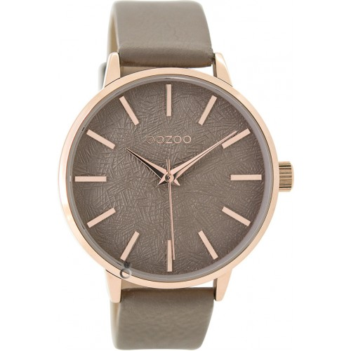 OOZOO Timepieces Rose Gold Brown Leather Strap C9498