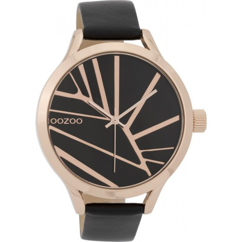 OOZOO TIMEPIECES 43mm Ladies Black Leather Strap C9684
