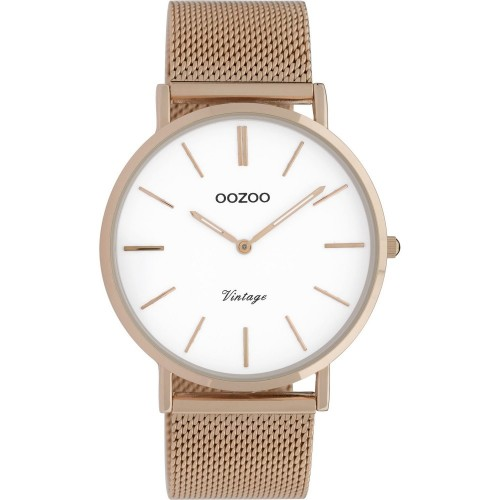 OOZOO Τimepieces Vintage Ρολόι Γυναικείο Ροζ Επιχρυσωμένο Μεταλλικό Μπρασελέ C9917