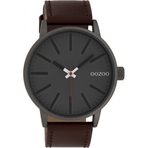 OOZOO TIMEPIECES Unisex 45mm Brown Leather Strap C10011