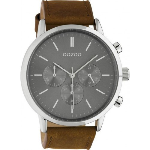 OOZOO TIMEPIECES Unisex 48mm Brown Leather Strap C10541