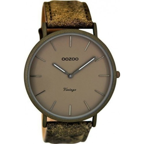 OOZOO TIMEPIECES 44mm Unisex Brown Leather Strap C8136
