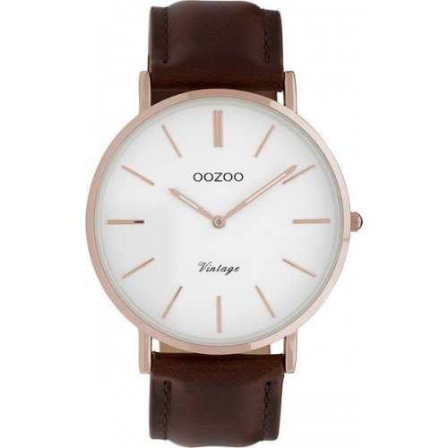 OOZOO TIMEPIECES 40mm Unisex Brown Leather Strap C9832