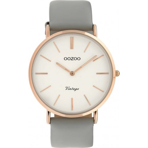 OOZOO TIMEPIECES 40mm Ladies Grey Leather Strap C9965