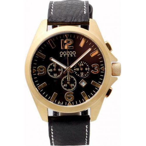 OOZOO Steel Gold Black Leather Chronograph OS312