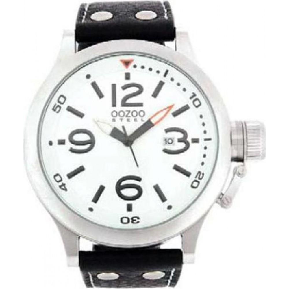 ... OOZOO Steel XXL White Black Leather Strap OS41 fc437c016fc