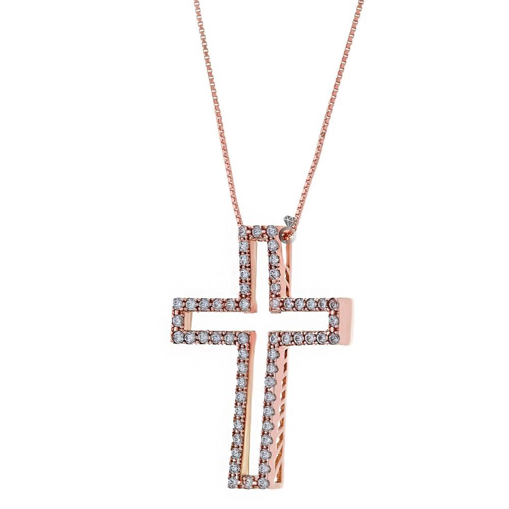 e3c6fc24711 Σταυρός Γυναικείος Ροζ Χρυσός 14κ