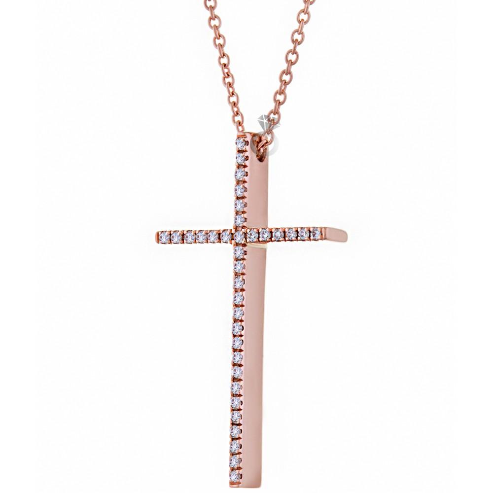 3334a96027d Γυναικείος Σταυρός Με αλυσίδα , Χρυσός 18κ Με Διαμάντια