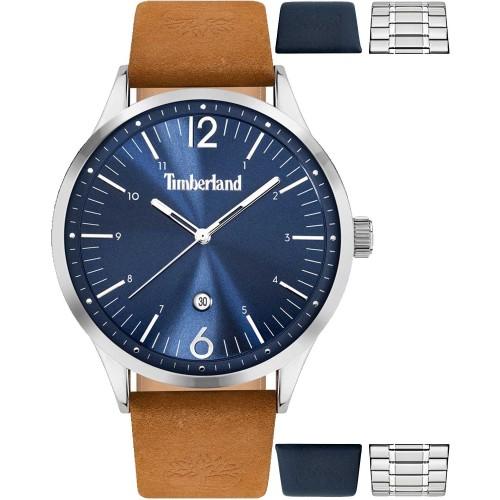 TIMBERLAND Northampton ρολόι σε συσκευασία καφέ λουρί , μπλε λουρί και μπρασελέ .TDWJB2000350