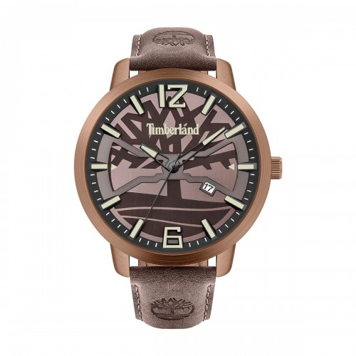 TIMBERLAND Glarksville Three Hands 48mm Rose Gold Stainless Steel Leather Strap 15899JYBN.12-G
