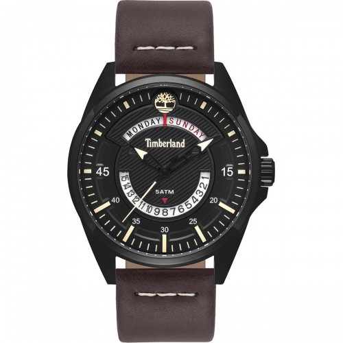 TIMBERLAND Lakeville , Black case with Brown Leather Strap