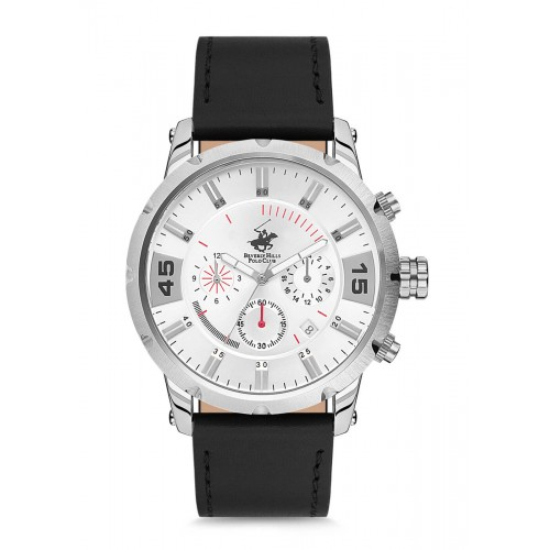BEVERLY HILLS POLO CLUB Chronograph Black Leather Strap BH2119-05