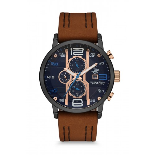 BEVERLY HILLS POLO CLUB Multifunction Brown Leather Strap BH9618-05