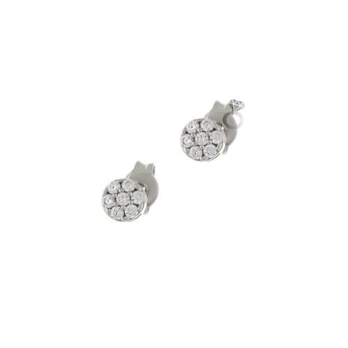 Σκουλαρίκια Γυναικεία Λευκόχρυσα 14κ (0,4 εκ διάμετρος)