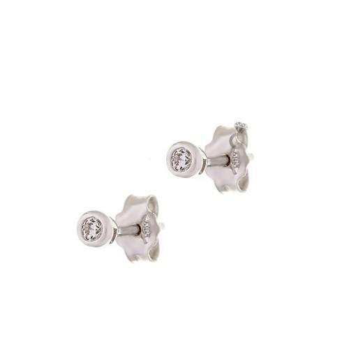 Σκουλαρίκια Γυναικεία Λευκόχρυσα 14κ (0,3 εκ διάμετρος)