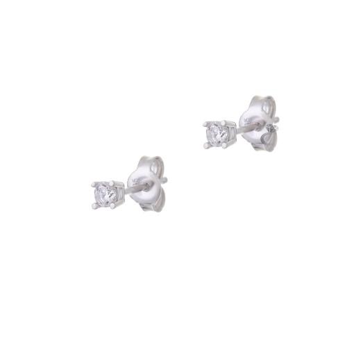 Λευκόχρυσα σκουλαρίκια μονόπετρα 14Κ